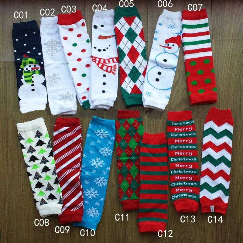 Рождественские гетры с принтом, детские гетры, новые стильные детские леггинсы, 14 дизайнов, 90 шт./партия