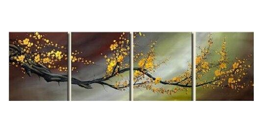 Художественный цветок сливы холст современный 100% Ручная роспись современный абстрактный цветок Масляные картины на холсте для украшения д...