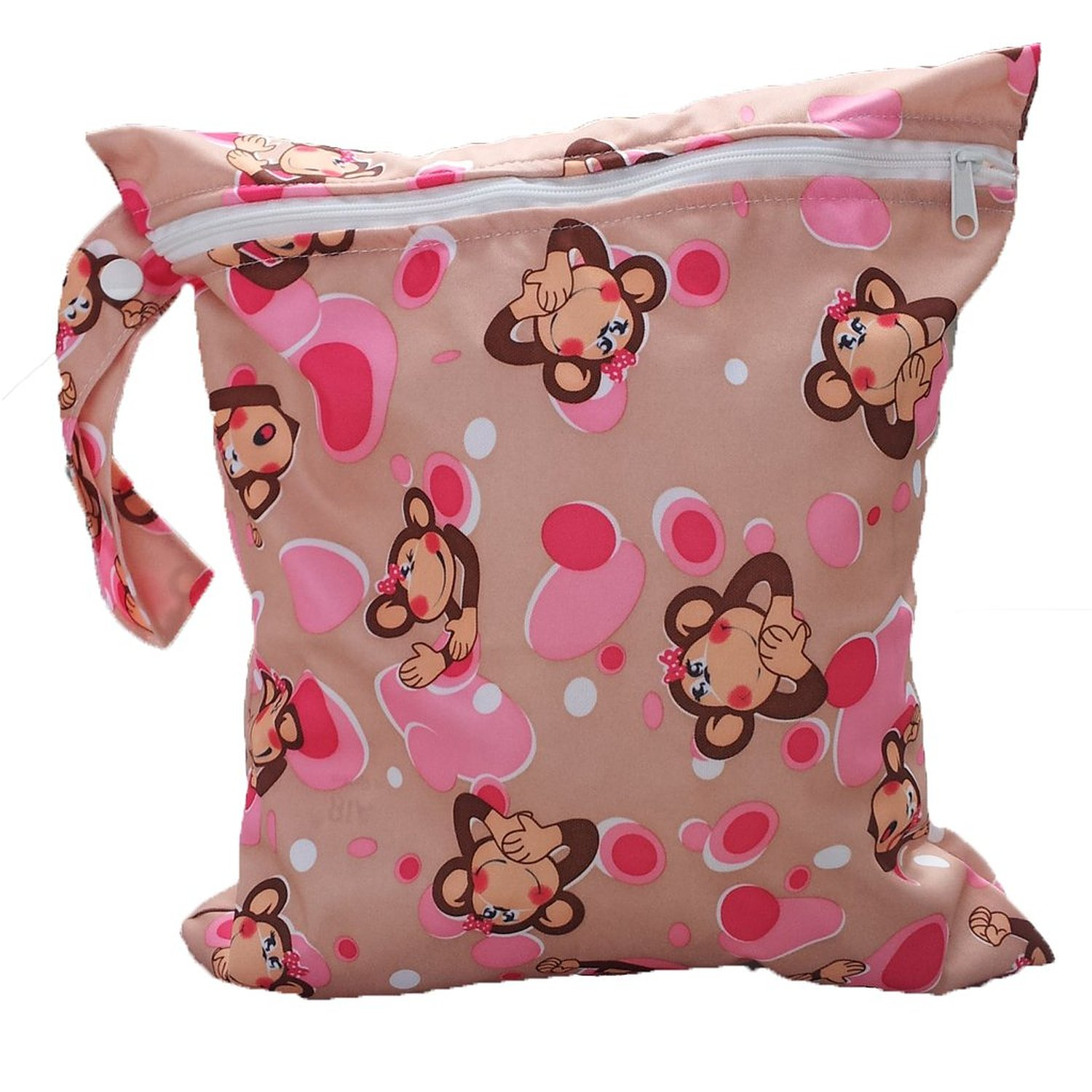 Baby Toddler Waterproof Zipper Reusable Cloth Diaper Bag Monkey Pattern ...