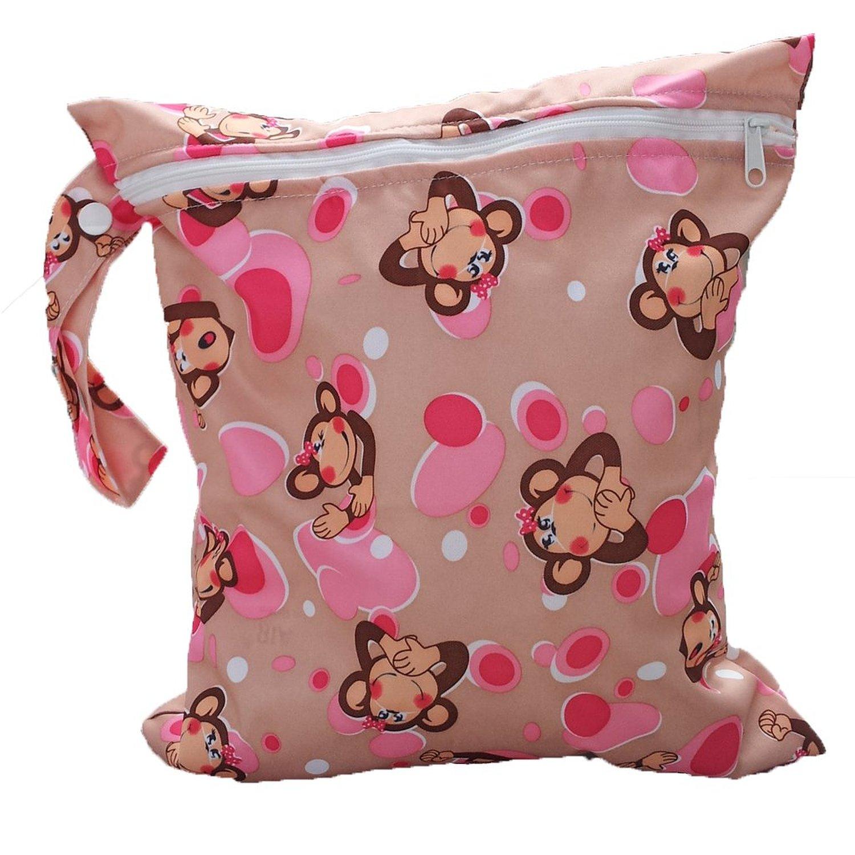 Baby Toddler Waterproof Zipper Reusable Cloth Diaper Bag Monkey Pattern ...