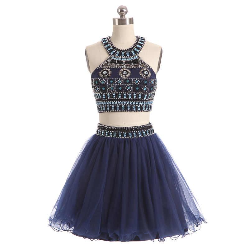 JaneVini Tulle Dua Potong Gaun Kristal Beads Pendek Bridesmaid Dresses sebuah Line Halter Formal Prom Gowns Pernikahan & De Dama De Honra