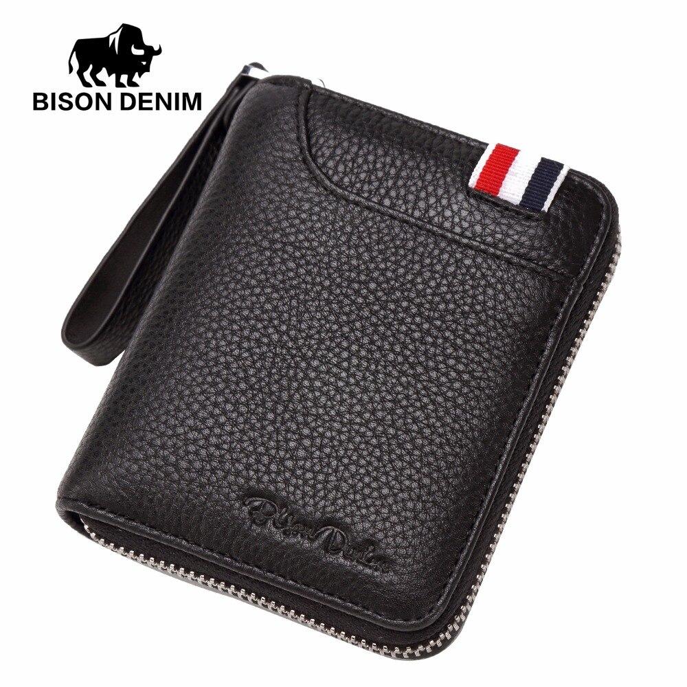 BISON DENIM Brand Genuine Luxury Men Wallets Leather Clutch Wallet Purse Hand Wrestle Zipper Wallet Card Holder Coin Purse N4462 bison denim vintage designer 100