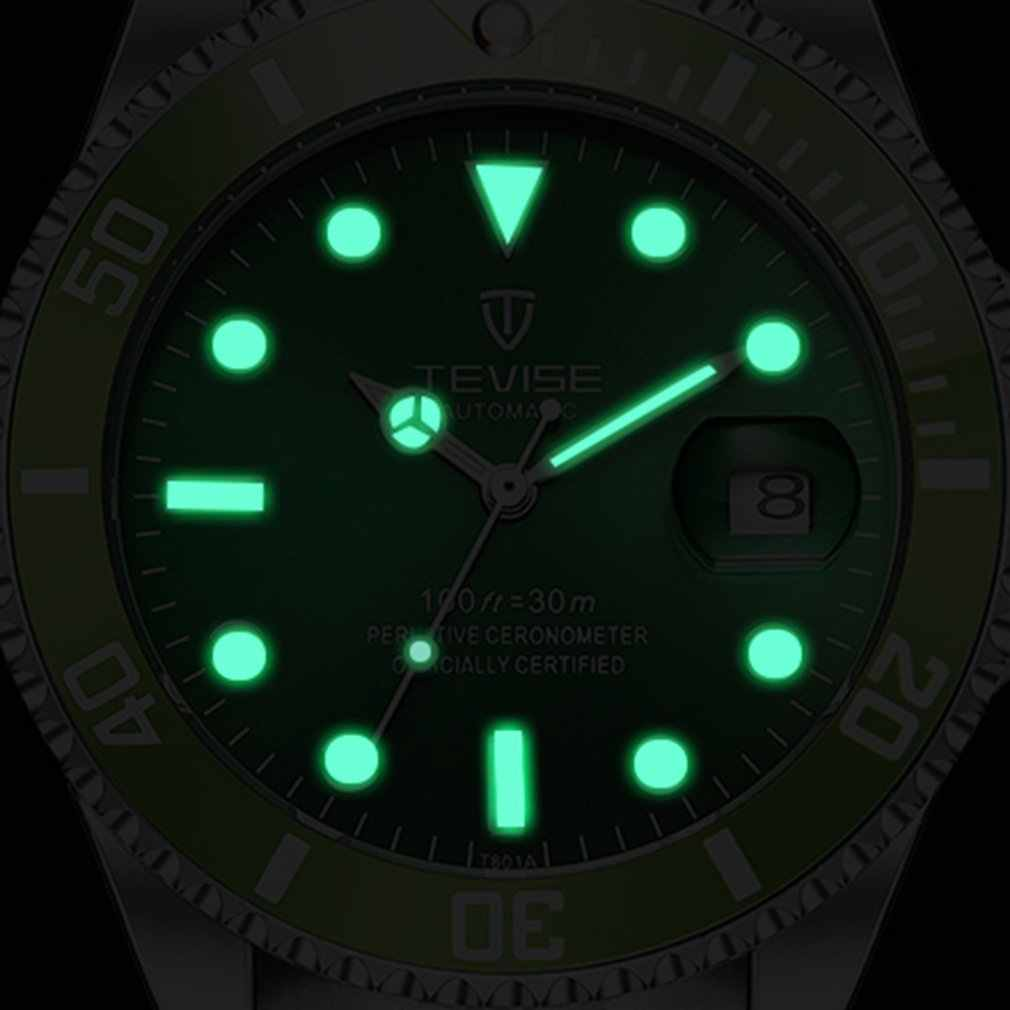 Reloj mecánico automático verde para hombre reloj de pulsera luminoso de moda reloj de pulsera de lujo de 30M a prueba de agua diario para hombre reloj Masculino