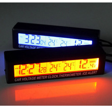 Высокое качество 3in1 Цифровой ЖК-дисплей часы Экран авто автомобиль Время часы термометр температуры Напряжение Вольтметр Бесплатная доставка