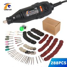 цена на TUNGFULL Dremel 130w Polished Engraved Power Tool With 288pcs Dremel Accessories Electric Woodworking Tools Mini Drill Engraver