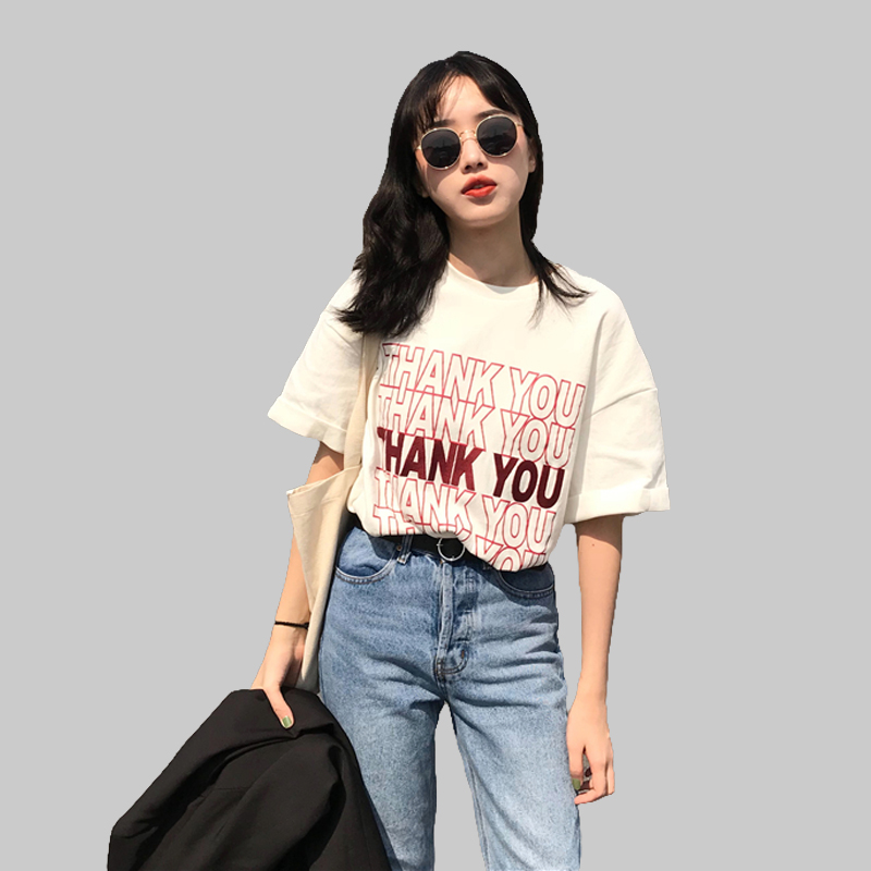 2018 Style Summer Oversized Short Sleeve Tshirt Women 39 s Casual Letter Tees harajuku punk rock Female Loose Tee Young E MC2 in T Shirts from Women 39 s Clothing