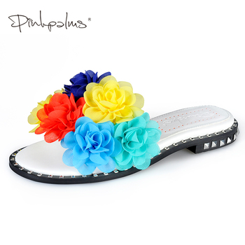 Pink Palms Summer Shoes Flowers Slides Shoes Women Flip Flops Solid Flat With Casual Shoes Mixed Colors Appliques slippers