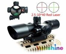 2.5-10×40 Tactique Luneta Par Fusil Portée Rouge Laser Double illuminé Mil-dot Rail Mount Airsoft lunette de visée Lunette de Visée