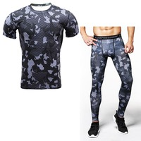 New Mens Camouflage Pants T Shirt Sets Crossfit Short Sleeve Tshirt Fitness Compression 3D Printed Joggers