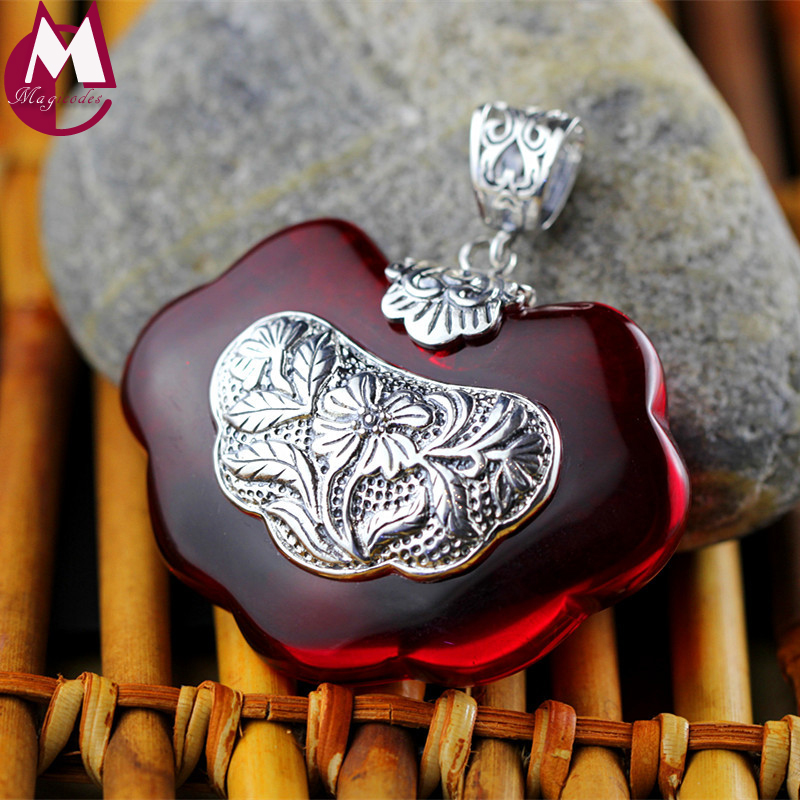 Classic Garnet Red Lucky Lock Necklace Pendants For Women 925 Sterling Silver Ethnic Flower Jewelry Lovers Mother's Gifts SP48