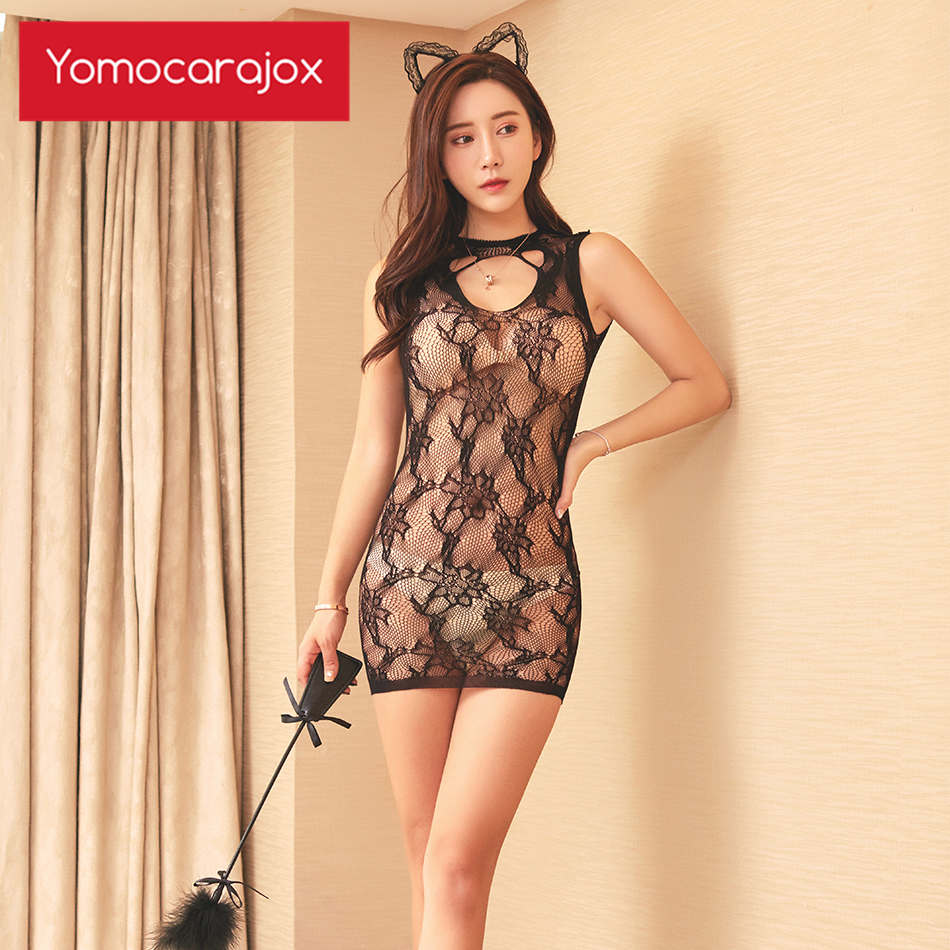 Yomocarajox Baby Dolls Erotic Costumes Beautiful Lace Sexy Hot Lingerie Underwear Black Hollow Out Women Intimates Porno