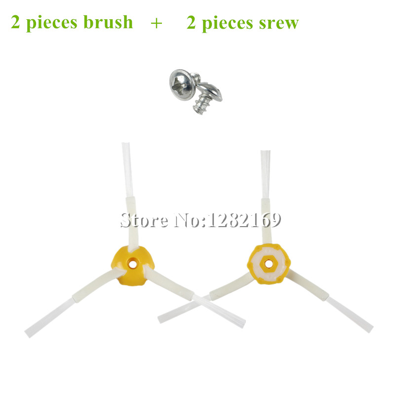 2x Side Brushes + 2x Screws Replacement for iRobot Roomba 500 600 700 Series 760 770 780 790 530 550 560 580 620 630 650 etc. комплектующие для пылесосов oem irobot roomba 500 600 700 760 560 585 595 650 770 780 550 790 for 700 series