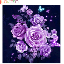 Diamond Painting Flower Diy 5D Cross Embroidered Rose Icon Mosaic Home Decor LUOVIZEM