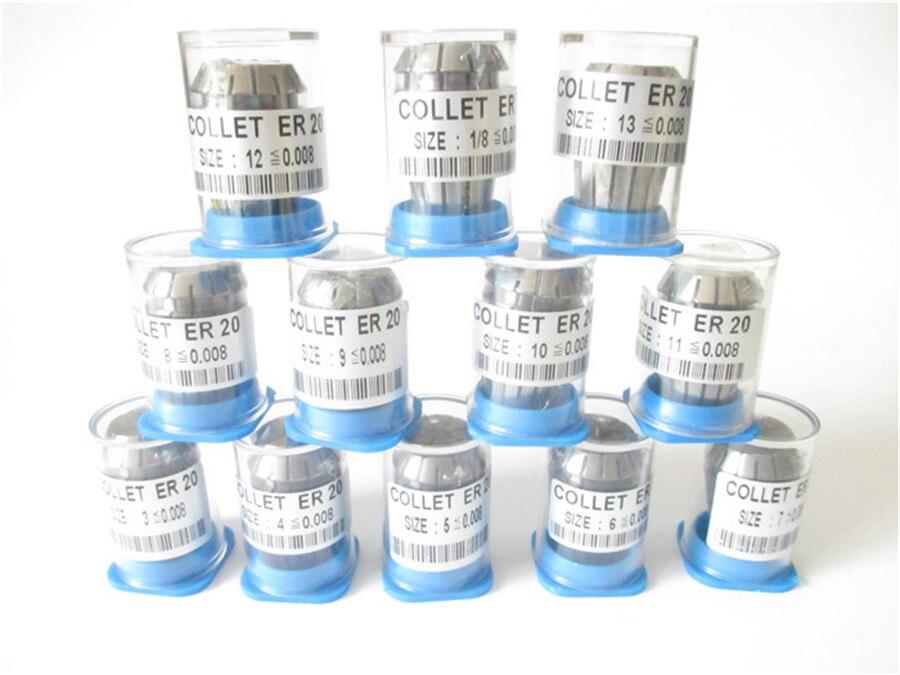 Free Shipping High Precision 0 008mm 12pcs ER20 collets ER 20 Spring Collet Suitable for ER