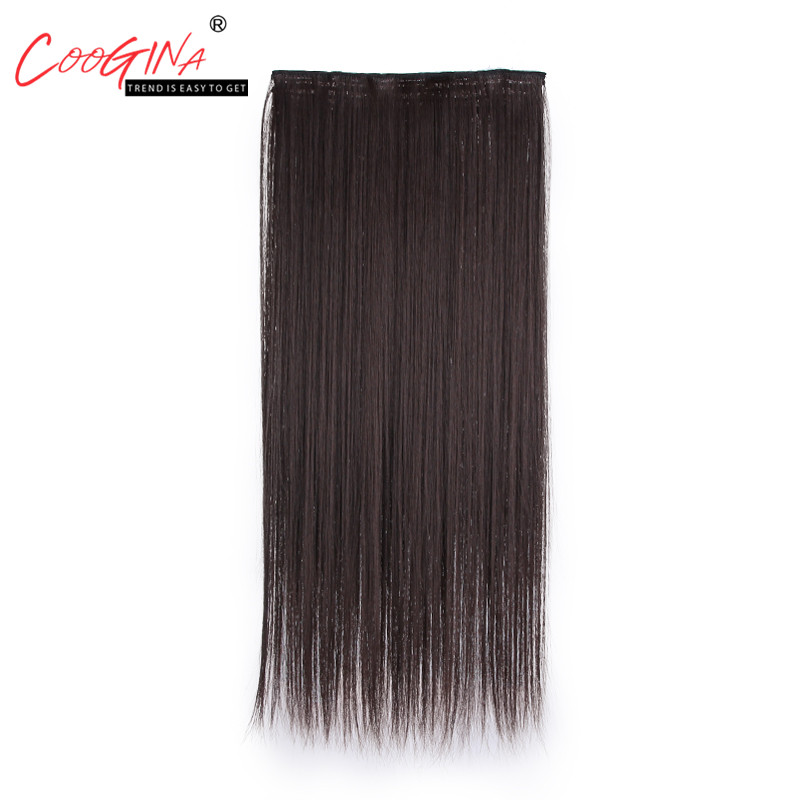 Coogina New Fashion Womens Long Straight Hair Clips One Piece Wig Chemical Fiber Hairsty ...