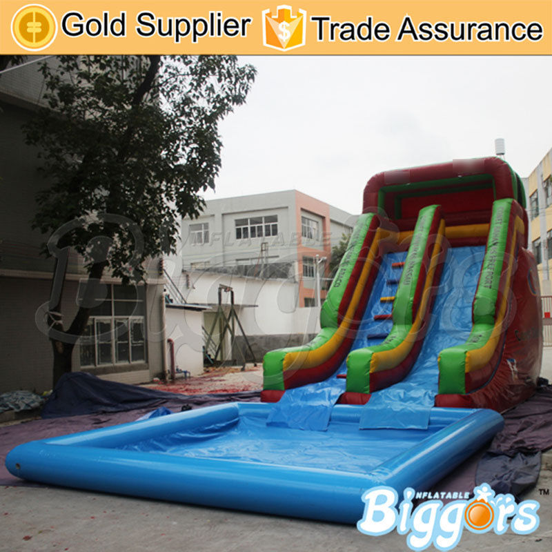 Large Size Inflatable Slide Water Park Game Inflatable Water Slide With Pool For Sale