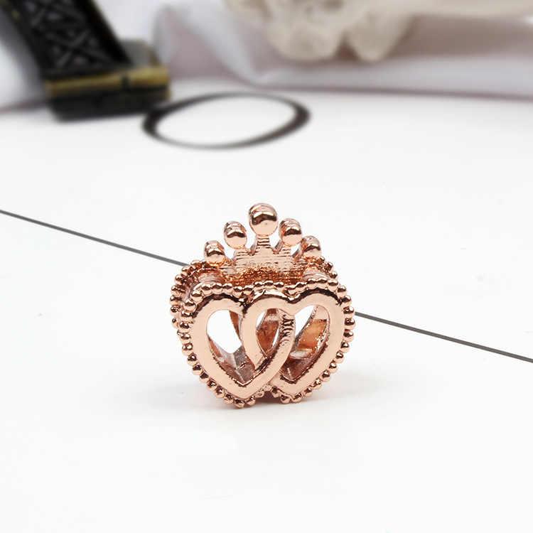 Moda kryształ w złotym kolorze drzewo miłość serce królik Bowknot Robot Honeycomb koraliki Fit Pandora Charm bransoletki kobiety Diy biżuteria