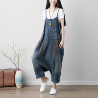 2018 New Spring Summer Printing Loose Women Vintage Wide Leg Bib Denim Rompers Jean Jumpsuits Big Pockets Drop Crotch Overalls