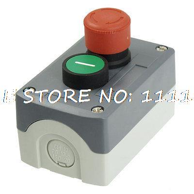 240V 3A Red Emergency Stop Momentary Green Flat Pushbutton Switch Station Box