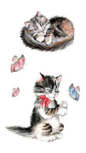 Waterproof Temporary Fake Tattoo Stickers Grey Cat Cartoon Design Kids Child Body Art Make Up Tools