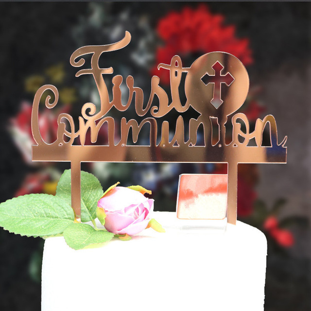 Free Shipping Mirror Rose Gold Acrylic Cake Topper First Communion Birthday Baby Shower Party Decoration
