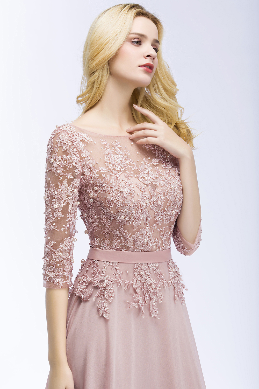 Elegant Pink Navy Blue Chiffon A-Line 3/4 Sleeve Long Bridesmaid Dress 2