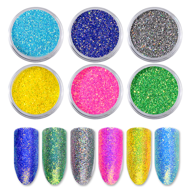 6pcs/set Shiny Nail Glitters Gorgeous Mermaid Nail Powder Dust Colorful Sequins Holographic Pigment For DIY Nail Art Decorations