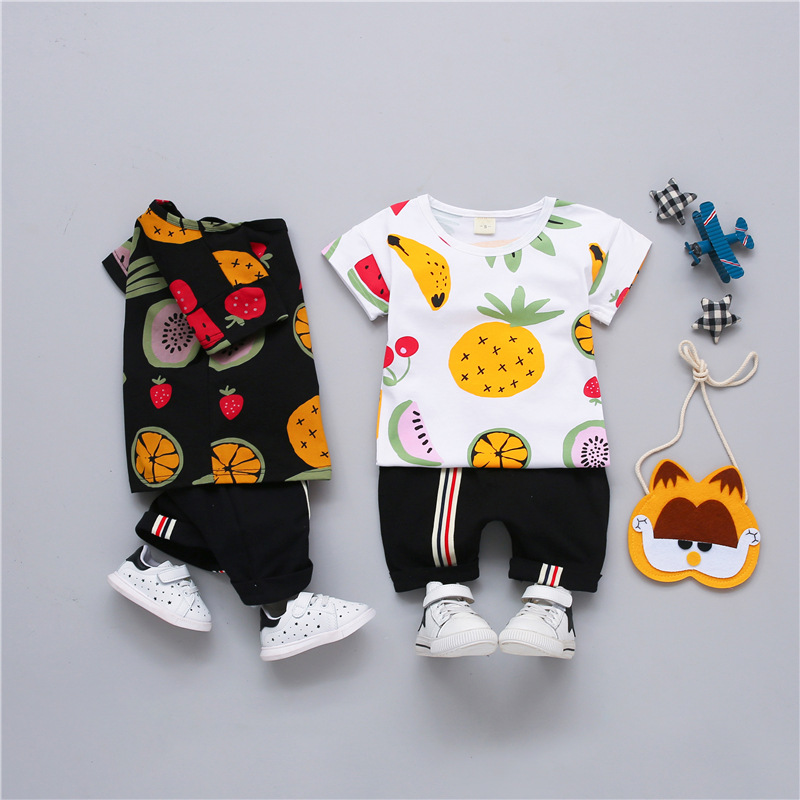 baafe7aef Baby Boy Summer Clothes Set for Toddler Kids Clothing Cartoon Printed Fruit  Short Sleeve Tshirt + Pants Boy Suit 1 2 3 4 Years | Shopping discounts ...