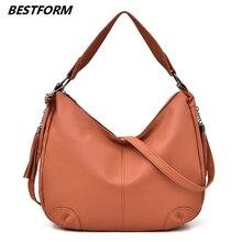 BESTFORM Fashion Crossbody Handbags For Women Shoulder Ladies Bags Casual Tassel Bag Female In Leather Womens Handbag