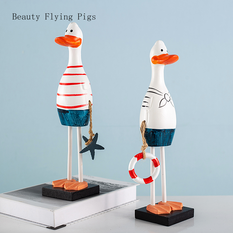Nordic wooden hand painted duck couple creative home accessories living room desk study wine cabinet decoration ornaments(China)
