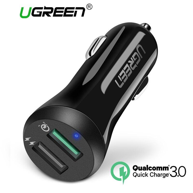 Ugreen coche cargador USB carga rápida 3,0 cargador de teléfono móvil 2 puerto USB cargador rápido para Samsung Xiaomi Tablet cargador