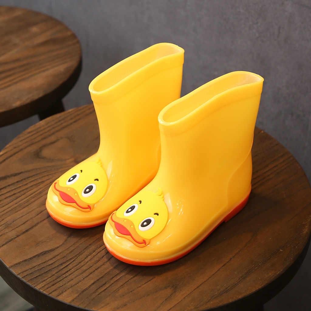 Toddler bebek çocuk bebek kız PVC karikatür hayvanlar yağmur çizmeleri ayakkabı galoş lastik çocuklar bebek çocuk su geçirmez yağmur çizmeleri