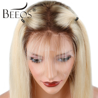 Beeos Ombre Blonde Full Lace Human Hair Wigs With Baby Hair Peruvian Straight Pre Plucked Remy