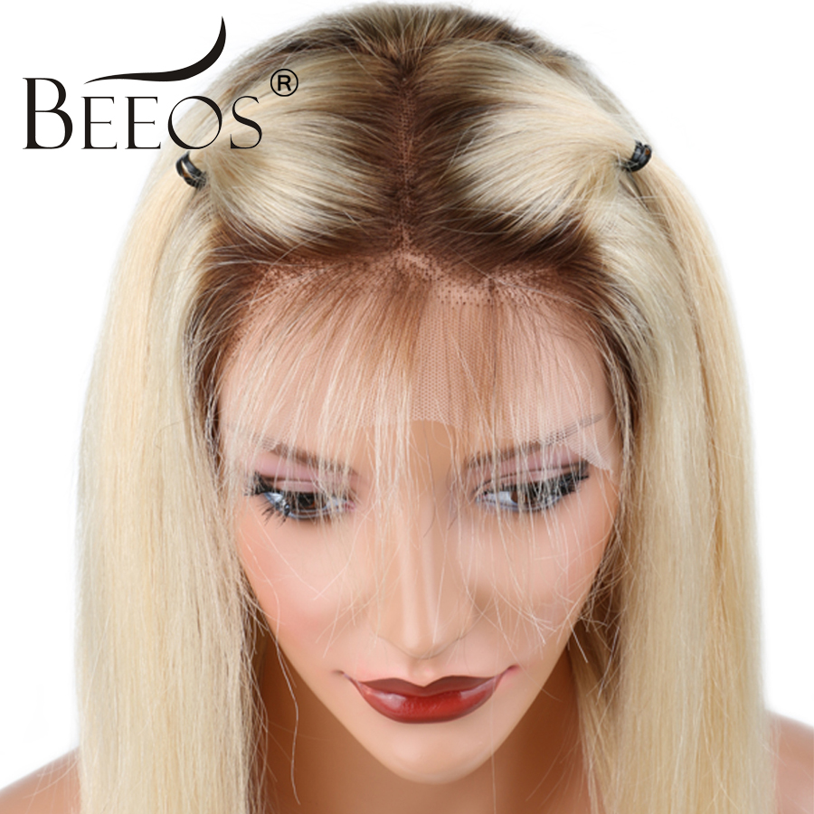 Beeos #4T#613 Glueless Full Lace Human Hair Wigs With Baby Hair Ombre Blonde Pre Plucked ...