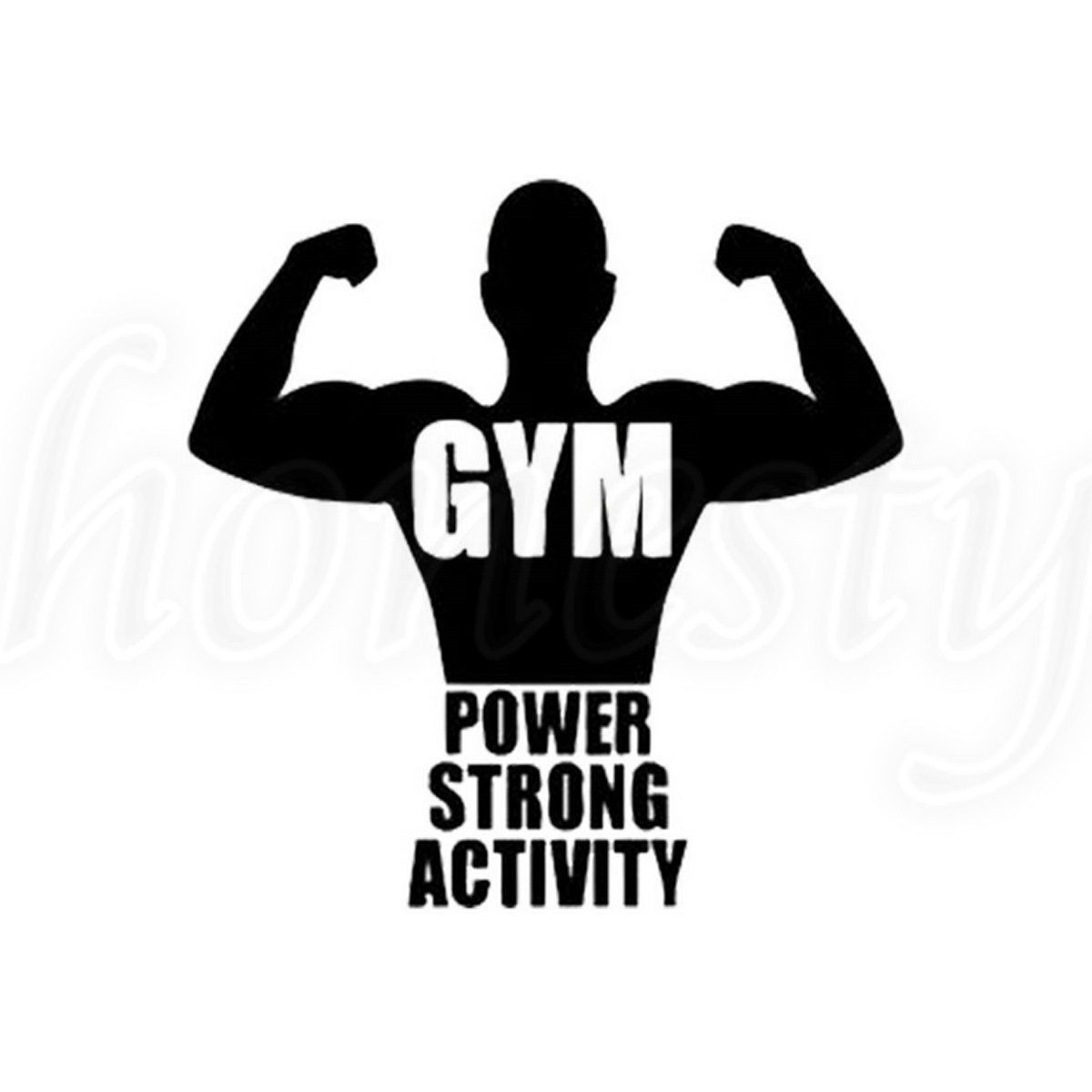 Power Strong Activity Gym Laptop Window Glass Decor Wall