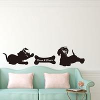 DCTOP Любое Имя Животных Стикер Собака Хочет Съесть Кости Забавный Щенок Фрески Home Decor Съемный DIY Наклейка