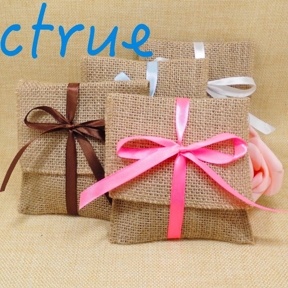 12PC wedding candy bag with free ribbon / burlap pouch/ burlap sack ...