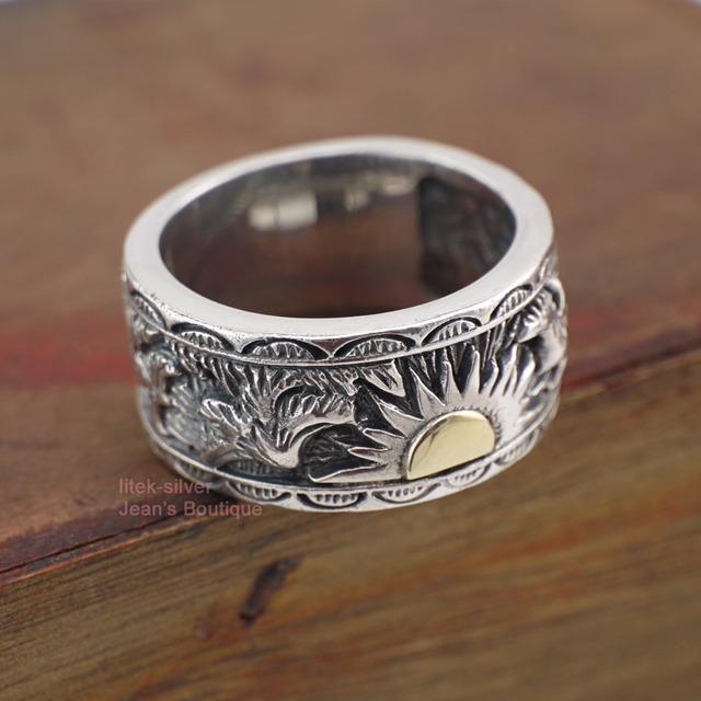 925 Solid Sterling Silver Sun Eagle Band Ring Men Rocker Biker For Men Women A3744