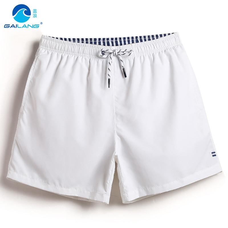 Gailang mens swimming trunks white shorts Solid color swimwear men sweat mesh liner boardshort beach surf praia de sungas jogger