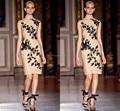 Custom Made Fashion Dress Knee Length Lace Appliques Mother Of Bride Dress Short Black Lace Appliques Champagne Dresses