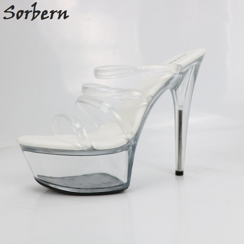 Sorbern Clear Soft Thin Straps Slippers Women Summer Shoes See Through Platform Shoes Ladies High Heel Slippers Outside Footwear stylesowner rabbit fur plush high heel slippers transparent clear slippers clip toe thin high heels shoes ladies shoes for women