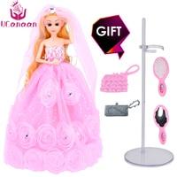 2017 New UCanaan Dolls Luxury Pink Flowers Wedding Princess Doll Fashion Girl Toys With Sticker Gift