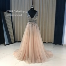 Plus Size High Side Split Green Prom Dress A-Line Tulle Long Party Dress Beaded Sequined Sexy Open Back Formal Evening Dresses