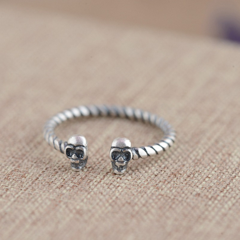 FNJ 925 Sterling Silver Ring Skull anillos S925 Thai Silver Rings for women Jewelry Male Men|thai silver ring|925 sterling silver ringsterling silver rings - AliExpress