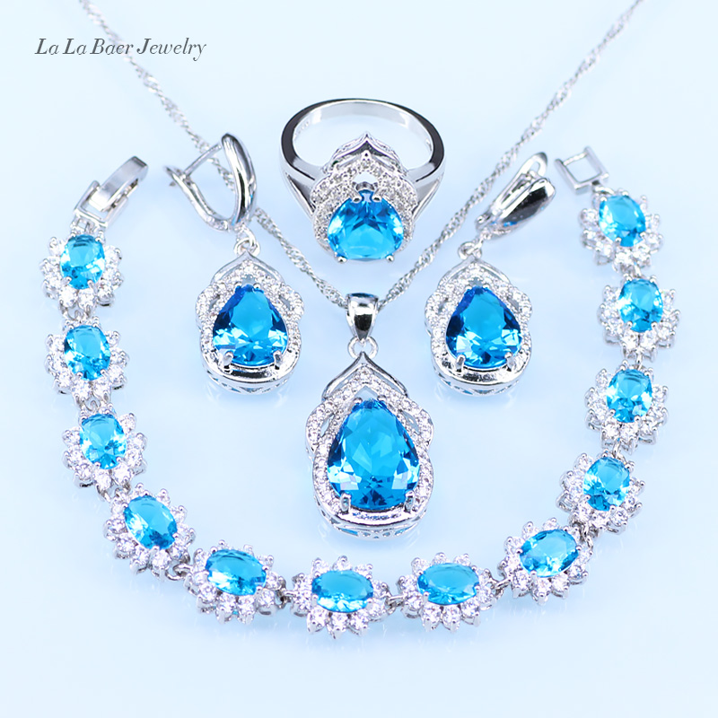 L&B silver 925 Bracelet Sky Blue Austrian Crystal Jewelry Sets Women Wedding zircon Hoop Earrings Pendant Necklace Ring viennois new blue crystal fashion rhinestone pendant earrings ring bracelet and long necklace sets for women jewelry sets