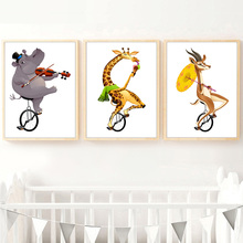 Hippo Giraffe Antelope Nordic Poster And Prints Wall Art Canvas Painting Pictures For Kids Baby Boy Girl Room Home Decor