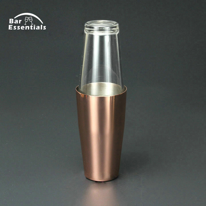 Boston Copper Plated Cocktail Shaker Premier Quality Stainless Steel Weighted Cocktail Shaker and 1 Pint Mixing Glass