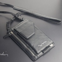 Pierre Cardin Male Casual Shoulder Bag Man Bag Cowhide Genuine Leather Bag Strap For Iphone 6