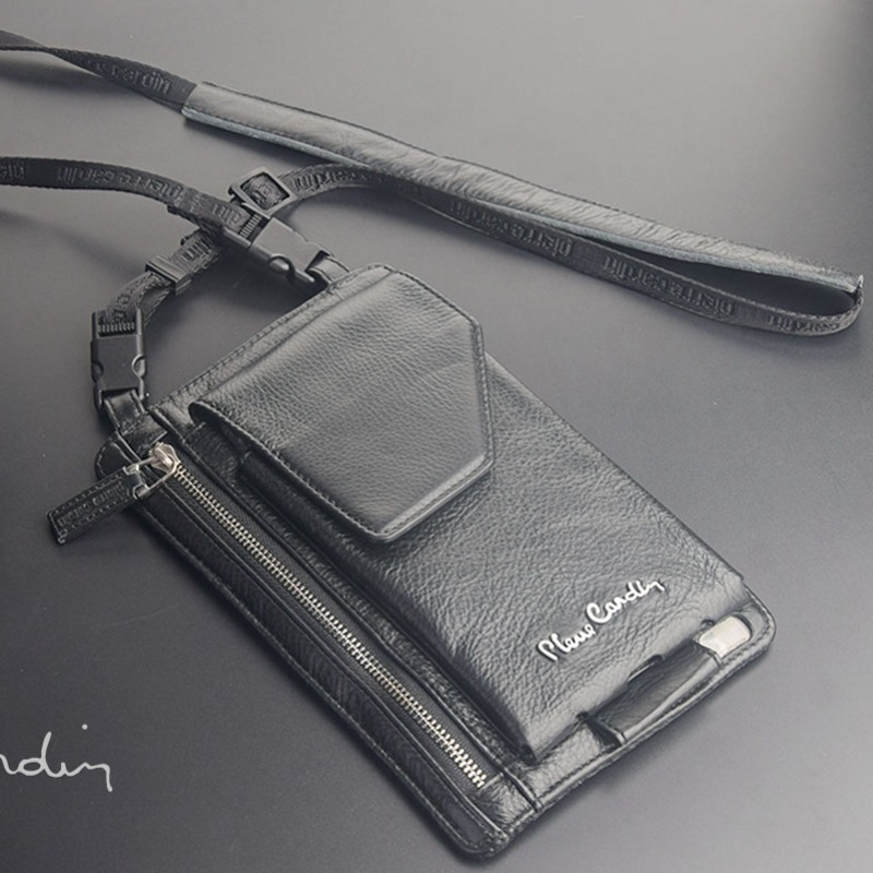 Pierre cardin male casual shoulder bag man bag cowhide genuine leather bag strap for iphone 6 to 7plus5.5 inch mobile phone bag