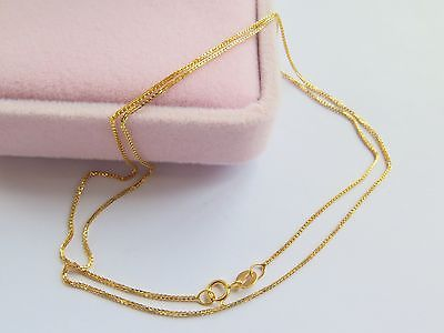 New Fine Au750 Pure 18K Yellow Gold Necklace Women Box Link Chain 18inchNew Fine Au750 Pure 18K Yellow Gold Necklace Women Box Link Chain 18inch